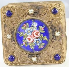 VINTAGE 1930'S FRENCH BRASS ENAMEL PEARL SMALL LANCHERE POWDER COMPACT