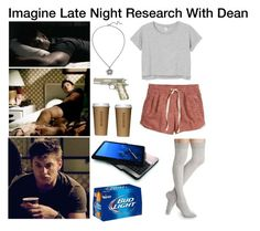 """""""Imagine Late Night Research With Dean"""" by alyssaclair-winchester ❤ liked on Polyvore featuring H&M, Monki, Express, imagine, supernatural and DeanWinchester"""