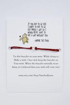 Best Friend Wish Bracelet W/ Winnie the Pooh (Best Friends, Love, Gift for a Friend, Gift, Bracelet, Quote, Pooh, Cute Gift)