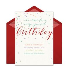 """One of our favorite free birthday party invitations, """"Colorful Confetti."""" Easily personalize and send via email for a memorable 30th birthday party."""