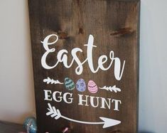 Custom rustic wooden signs by SerendipityByElisa Create Yourself, Finding Yourself, Egg Hunt, Serendipity, Rustic Farmhouse, Wooden Signs, Easter Eggs, Etsy Seller, Handmade Gifts
