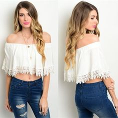 "Gorgeous Ivory Top  ❗️COMING SOON❗BRAND NOT AS LISTED • Please comment size if you would like to be notified when in stock SERIOUS BUYERS ONLY • This off the shoulder boho too features a relaxed fit and scalloped crochet trim • 100% rayon • L: 20"" B: 46"" W: 50"" • will be available in sizes S,M,L Free People Tops"