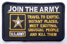 JOIN THE ARMY Funny Vet Military Quality Biker Patch!!! - http://sewing.diysupplies.org/threaders/join-the-army-funny-vet-military-quality-biker-patch/