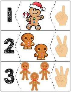 $1 | Teach counting skills with Gingerbread Men! Great for teaching 1:1 counting skills and number recognition for numbers 1-10. Quick prep and great for math centers! #preschool #preschoolers #preschoolactivities #kindergarten #Homeschooling #mathcenters