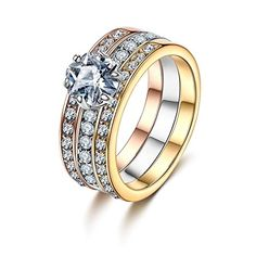 Forcolor TriColored Plated ThreeRow SWAROVSKI ELEMENTS Crystal Round Cut Ring for Women ** Check out the image by visiting the link.(This is an Amazon affiliate link and I receive a commission for the sales)