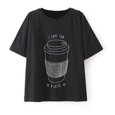 LUCLUC Black Coke Cup Printed T-Shirt ($19) ❤ liked on Polyvore featuring tops, t-shirts, lucluc, clothes - tops, black top, black tee and black t shirt