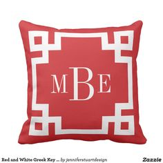 Red and White Greek Key Monogram