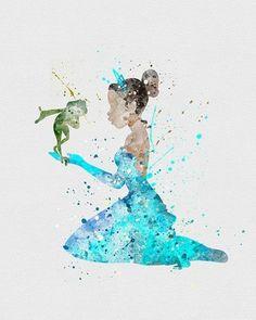 Princess Tiana Watercolor Art - One of my fave Disney movies! Disney Pixar, Art Disney, Disney Kunst, Disney And Dreamworks, Disney Girls, Disney Magic, Disney Mickey, Tiana Disney, Princesa Tiana