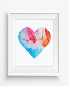 Geometric Heart Print,love printable poster ,modern print ,digital prints,home decor,instant download