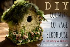 Country cottage birdhouse - for string