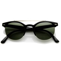 Round half frame sunglasses that features a prominent metal crossbar across the top and metal diamond studs on each temple.