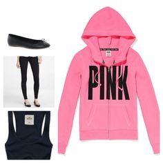 Gonna wear this outfit tomorrow my PINK hoodie my Jessica Simpson flates and a black tank top. What do u guys think but idk how to do my hair help me come up with ideas plz