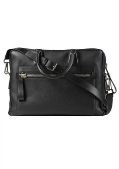 8fafb6fec46c TOM FORD Buckley Double Zipper Briefcase With Shoulder Strap Black