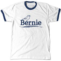 Bernie Birdie Sanders Ringer T-Shirt, Berdie for president 2016 Navy... ($15) ❤ liked on Polyvore featuring tops, t-shirts, shirts, white top, navy top, tee-shirt, white cotton tops and cotton t shirts