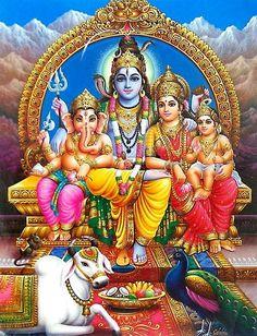 Lord Shiva with Family - Hindu Posters (Reprint on Paper with Plastic Lamination - Unframed) Shiva Shakti, Shiva Parvati Images, Shiva Linga, Shiva Art, Lakshmi Images, Durga Maa, Hindu Art, Hanuman, Photos Of Lord Shiva