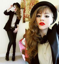 Burberry Blazer, Rock And Republic Black Jeans, Candies Clogs, Diy Bow Tie, Saks Fifth Avenue Bowler Hat