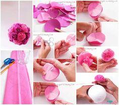 hacer flor con papel de seda - Buscar con Google