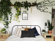 Clearly no such thing as too many plants or too many pillows🌱 ___ Come add to your collection this Saturday ->visit for… Home Bedroom, Master Bedroom, Bedroom Decor, Bedrooms, Stay In Bed, Modern Room, My Room, Room Inspiration, Pillows