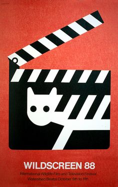Poster by Tom Eckersley advertising the International Wildlife Film and Television Festival at Watershed, Bristol (1988)
