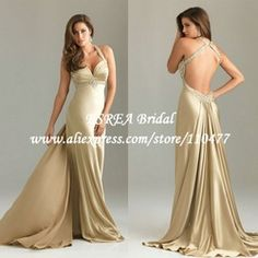 Bead Crystal Satin Sexy Long Evening Dress Backless Champagne Prom Dress for Special Occasion Dresses Sweep Train _ {categoryName} - AliExpress Mobile Version - Evening Dresses 2014, Gala Dresses, Dance Dresses, Evening Gowns, Prom Dress With Train, Dress Picture, Special Occasion Dresses, Pretty Dresses, Bridesmaid Dresses