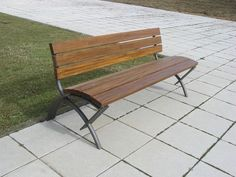 Public bench / contemporary / steel / in wood MATRIZ by Daciano da Costa Larus - Artigos para Construçao e Eq. Lda.