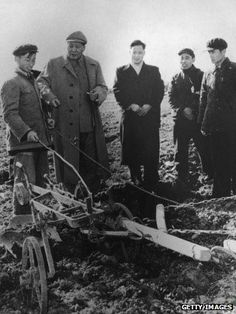 Chinese Communist Party Chairman Mao Zedong visiting farm workers in Zhejiang, China, 1958