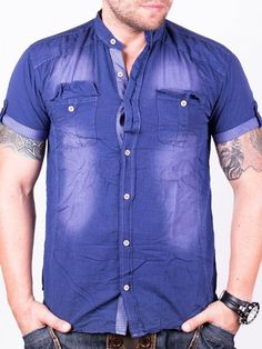 Camasa barbati Mario indigo Indigo, Button Down Shirt, Men Casual, Interior Design, Mario, Mens Tops, Shirts, Fashion, Navy Blue