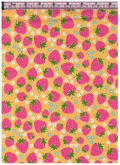 HALF YARD Yuwa - Pink Strawberries on YELLOW - Atsuko Matsuyama 30s collection - Daisies, Strawberries -  Japanese Import Fabric by fabricsupply on Etsy