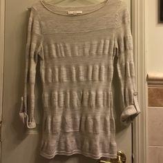 Loft boatneck sweater Loft tan boatneck sweater. Roll sleeves. Size medium. Gently used. LOFT Sweaters Crew & Scoop Necks
