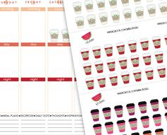 DIY Printable Life Planner Sticker Coffee por SandiaDesignShop