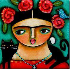 18 - Frida Kahlo e il suo gatto, Tascha Parkinson Frida Art, Color Shapes, Cat Art, Folk Art, Kitten, Art Gallery, Colours, Watercolor, Disney Characters