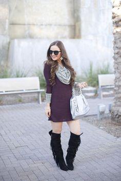 Cowl Neck   Fringe-OTK boots-Gucci-Celine-Blogger- Blog- Fashion- Woman's Fashion-Fall- Burgundy-Marsala-Earrings-Dress-Sweater Dress-Fashion Blogger-Style Blog
