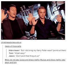 They do not play Lucius and Draco Malfoy.  Lucius and Draco play Jason and Tom.