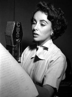 Elizabeth Taylor during a CBS Radio broadcast (1949)
