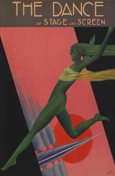 1920's Green Wind Dancer Theatre Stage High Art Deco Poster