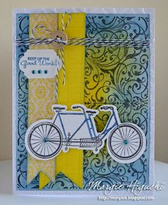 JustRite May Release Bicycle Built for Two Cling Stamps and Iron Swirls Cling Background Stamp | JustRite Papercraft Inspiration Blog