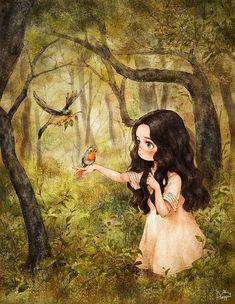해가 질 무렵의 어느 저녁, 처음 듣는 새소리에 이끌려 숲 깊숙히 들어왔어요. 조심스레 손을 뻗어보았더니 착하게도 손등위에 앉은 자그마한 노란새. 맑은 노래소리가 너무 아름다워요. An unfamiliar bird's song drew me into the deepest parts of the wood on an evening near sunset. I carefully offered by hand and the kind yellow bird gently rested on the back of my hands, filling the woods with its crystal clear song.