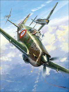 Morane Saulnier MS 406 vs Messerschmitt Bf 109E, by Lucio Perinotto