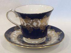 AYNSLEY BONE CHINA COBALT BLUE & GOLD FILIGREE CUP & SAUCER SET #1215 ENGLAND #AYNSLEYEST1775