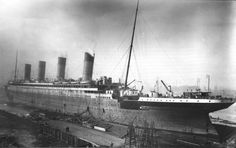 Historic photograph of the Titanic in Dry-dock, taken from the yard's floating crane, January 1912