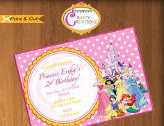 Disney Princess Invitation  Princess by CraftyCreationsUAE on Etsy