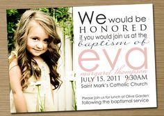 Boy/Girl Printable Baptism Invitation/Announcement (Jessica). $15.00, via Etsy.