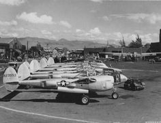 P-38s after being cleaned at the Hickam Field Air Depot on Oahu, Territory of Hawaii (August 1944)