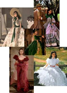 Five of Scarlett's dresses in 'Gone With The Wind'