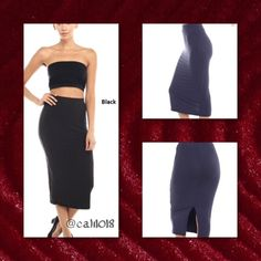 COMING IN 2 DAYS BLACK PENCIL MIDI SKIRT Back Slit Pencil Skirt Fabric 87% Polyester 13% Spandex Made in IMPORTED Color: Black Size: Small, Medium, Large.                                     PLEASE DO NOT PURCHASE THIS LISTING PLEASE COMMENT BELOW AND I WILL CREATE A SEPARATE LISTING JUST FOR YOUR PURCHASE Glam Squad 2 You Skirts Midi