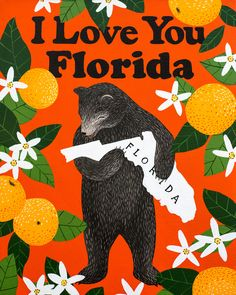 Our I Love You Florida Print celebrates the Sunshine State with its official flower, the orange blossom. Designed by Annie Galvin at 3 Fish Studios in San Francisco, California, and printed on-site in the Outer Sunset with 8-color UltraChrome K3™ inks on 300 gsm Hot Press Bright paper. Archival, highest possible quality.