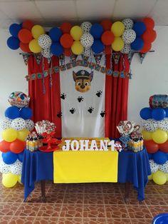 Paw Patrol Birthday Decorations, Paw Patrol Birthday Theme, Diy Birthday Decorations, Boy Birthday Parties, 3rd Birthday, Balloon Garland, Balloons, Ideas, Party Trays
