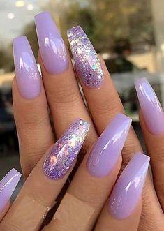Purple Glitter Nails, Purple Acrylic Nails, Acrylic Nails Coffin Short, Summer Acrylic Nails, Best Acrylic Nails, Sparkle Nails, Glitter Nail Art, Coffin Nails, Summer Nails