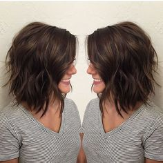 Brunette : Bob : Lob : Beach Waves(Hair Bob Choppy)