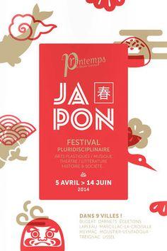 Festival Japon's clean and elegant poster design. By Printemps de Haute Corrèze for the Centre d'art contemporain de Meymac. Japan Design, Web Design, Layout Design, Print Design, Graphic Design Posters, Graphic Design Inspiration, Typography Design, Branding Design, Lettering